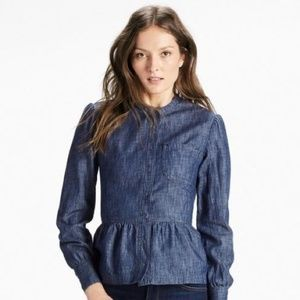 Lucky Brand Denim Pocket Romantic Top Size 4 Small